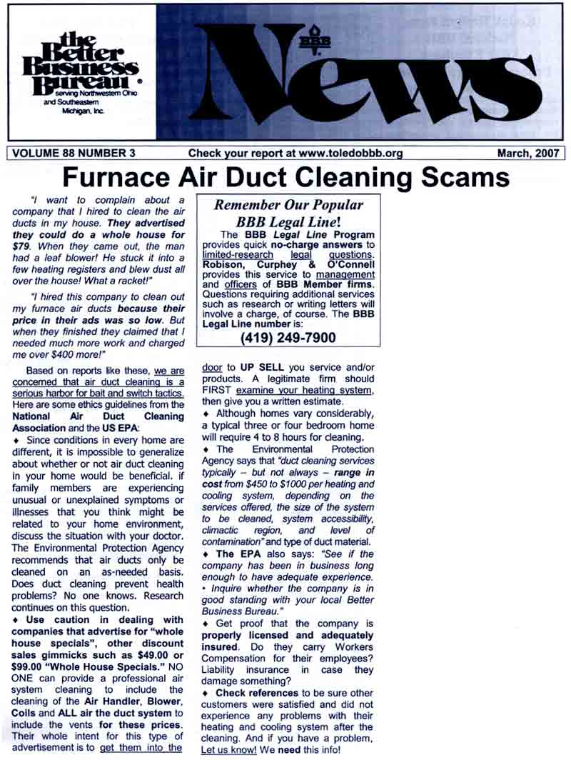Duct Cleaning Scams